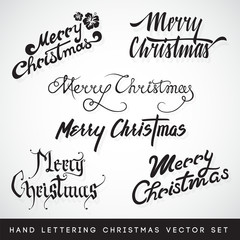 Merry Christmas Hand Lettering Vector Set