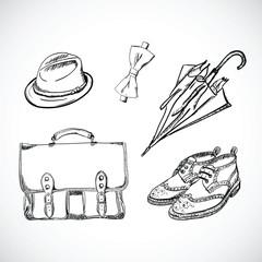 Gentleman Sketch Handdrawn Vector Set