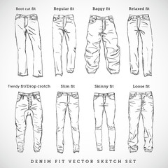 Denim Fit Hand Drawn Vector Sketch Set