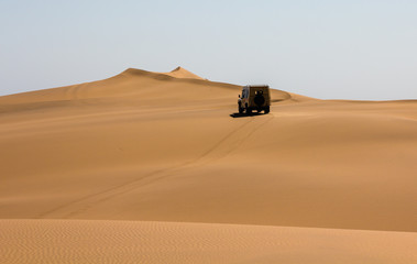 Safari Jeep in the Namib Dunes near Swakopmund, Namibia