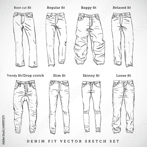 Denim Fit Hand Drawn Vector Sketch Set - 69097271