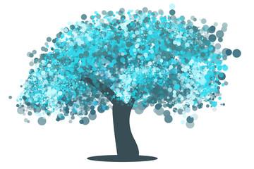 Árbol burbujas azul