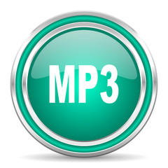 mp3 green glossy web icon