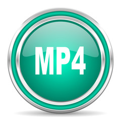 mp4 green glossy web icon