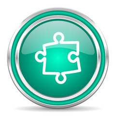 puzzle green glossy web icon