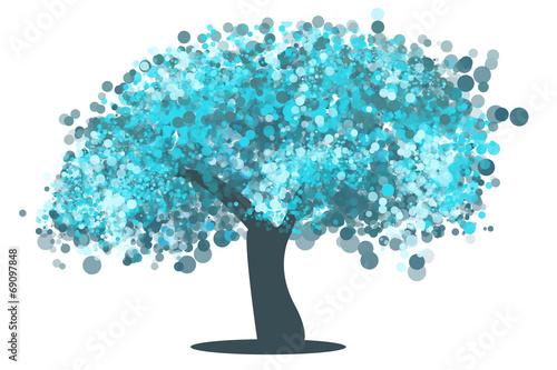 canvas print picture Árbol burbujas azul