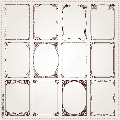 Decorative borders and frames Art Nouveau style vector - 69097855