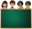 Kids leaning over the empty blackboard
