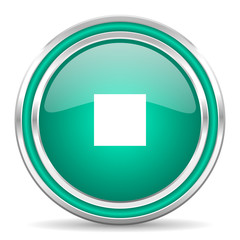 stop green glossy web icon