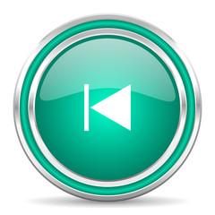 prev green glossy web icon