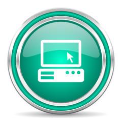 computer green glossy web icon