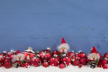 Weihnachtskarte in Rot, Blau und weiß