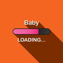 Long Shadow Loading Illustration - Baby