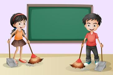 Kids cleaning near the empty board