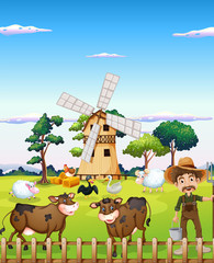 A farmer with the farm animals