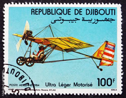 Leinwanddruck Bild Postage stamp Djibouti 1984 Motorized Hang Glider