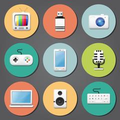 Multimedia icons, flat design vector