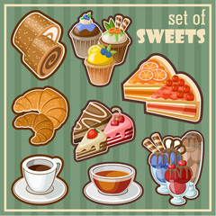 Set of sweets. vector illustration
