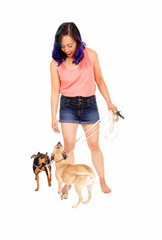 Woman with her two dog's.