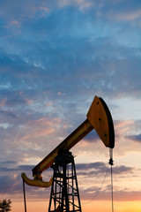 pump jack extracts oil in Caucasus region
