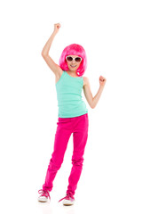 Cheering girl in pink wig