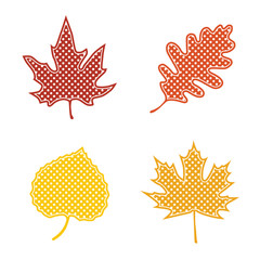 Autumn leaves with polka dots