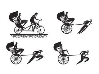 Rickshaw icons. Vector format