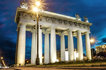 Moscow triumphal gates in Moscow Avenue in St. Petersburg