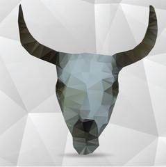 Vector skull made of triangles - vector illustration