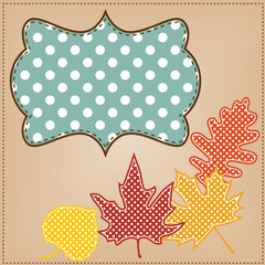 Autumn leaves with polka dot frame