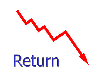 rotes Diagramm abwärts Rendite