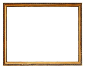 narrow carved golden wooden picture frame
