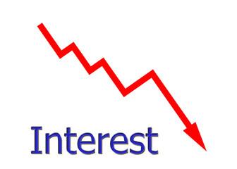 rotes Diagramm abwärts Zinsen