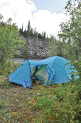 Tent on  banks of the river