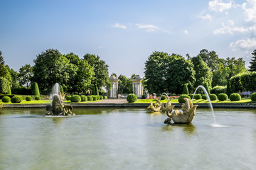 Fountains in the upper Park in Peterhof , St. Petersburg