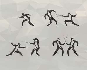 Fencing icons. Vector format