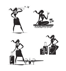 Stewardess icons. Vector format