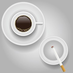 cup of coffee and cigarette