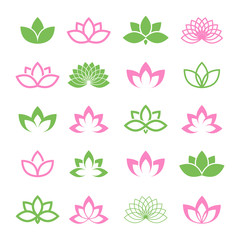 Lotus vector set for wellness, spa and yoga.