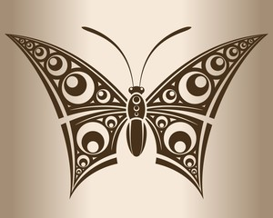 Monochrome butterfly. Decorative pattern of a butterfly.