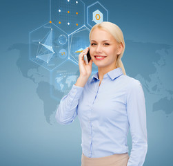 businesswoman with smartphone over blue background