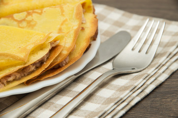 Pancakes with a meat stuffing