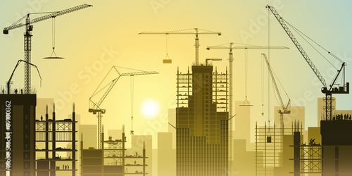Construction Site with Tower Cranes - 69100862