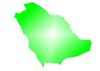yeşil renkli suudi arabistan haritası
