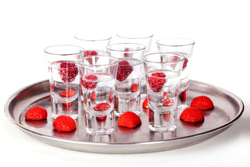 set of short cocktail with raspberries and strawberries
