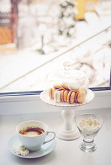 Coffee and sweets near the window