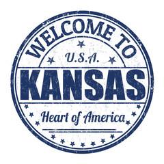 Welcome to Kansas stamp