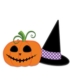 Pumpkin or jack o lantern and witches hat vector