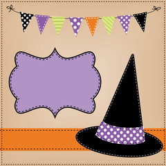 witches hat layout or template with banner