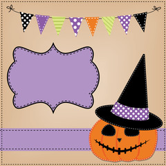 Pumpkin or jack o lantern and witches hat template